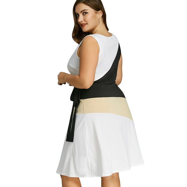 Plus Size Sleeveless Low Cut Dress