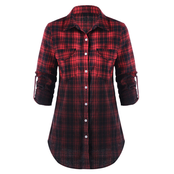Flap Pockets Ombre Plaid Shirt