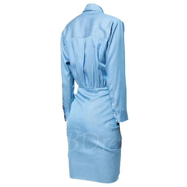 Front Tie Ruched Mini Chambray Dress