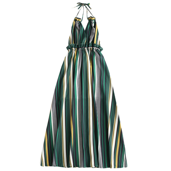 Striped Ruffled Backless Halter Maxi Dress