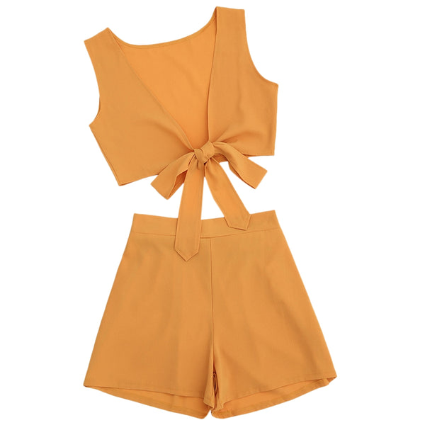 Tied Front Crop Top with Shorts Set