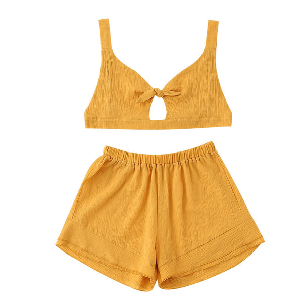 Bralette Bow Tied Top and High Waisted Shorts Set