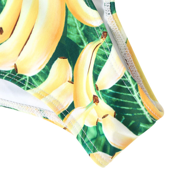 Banana Print Strappy One Piece Swimsuit