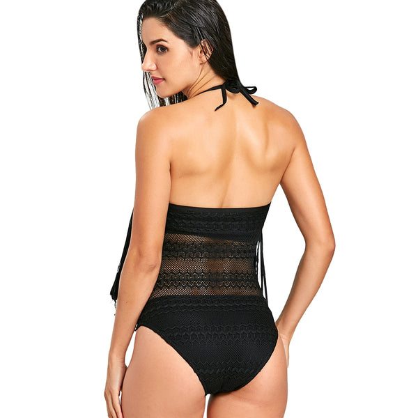 Lace Fringed One Piece Swimsuit
