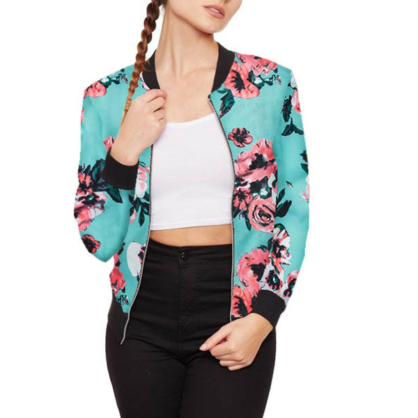 Flower Print Retro Girls Casual Zip Jacket