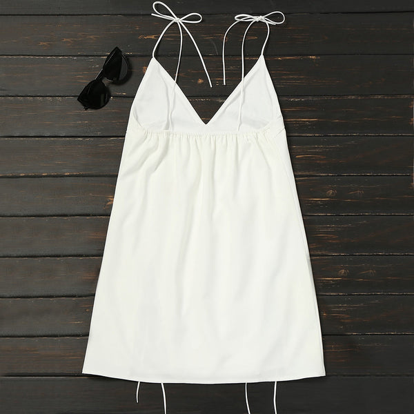 Tied Cami Cut Out Trapeze Dress