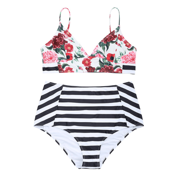 Floral Striped Plus Size High Waisted Bikini Set