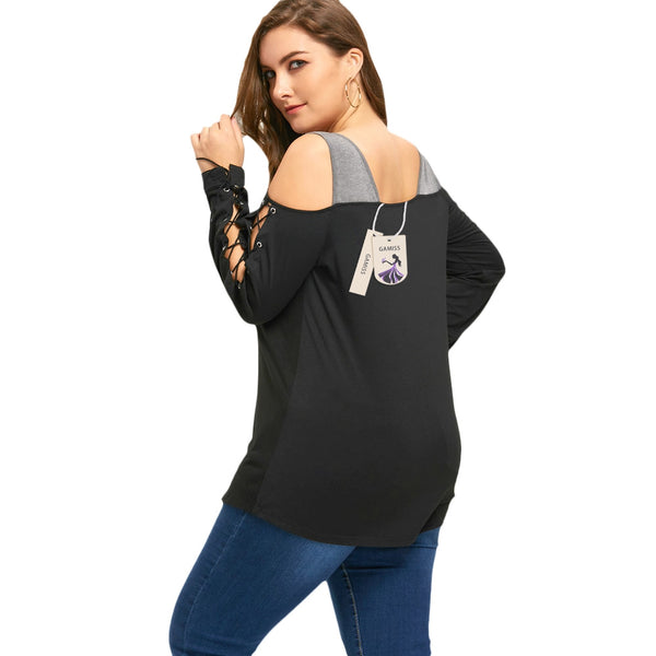 Halloween Plus Size Lace Up Cold Shoulder Top