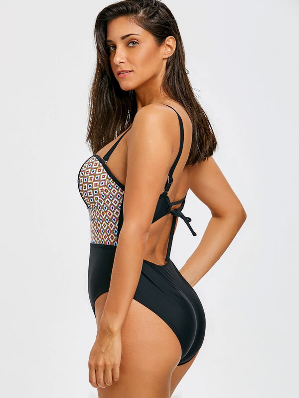 High Leg Cut Out Printed Swimsuit