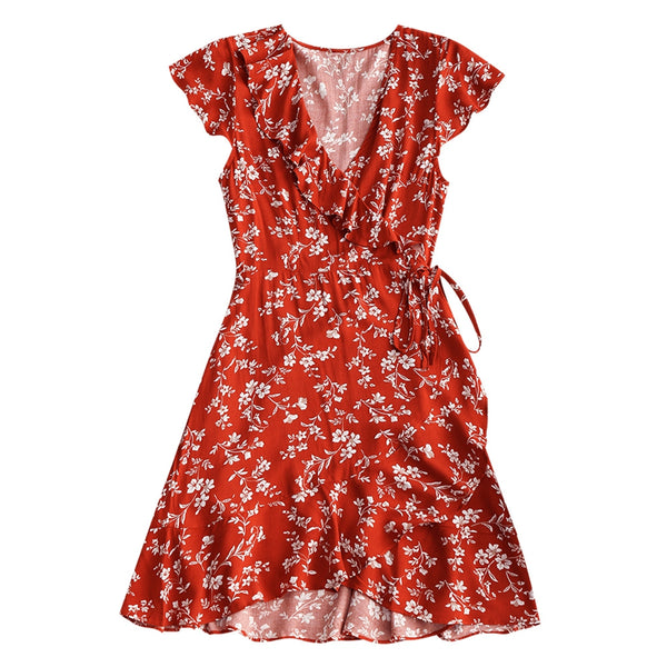 Tiny Floral Ruffle Wrap Mini Dress