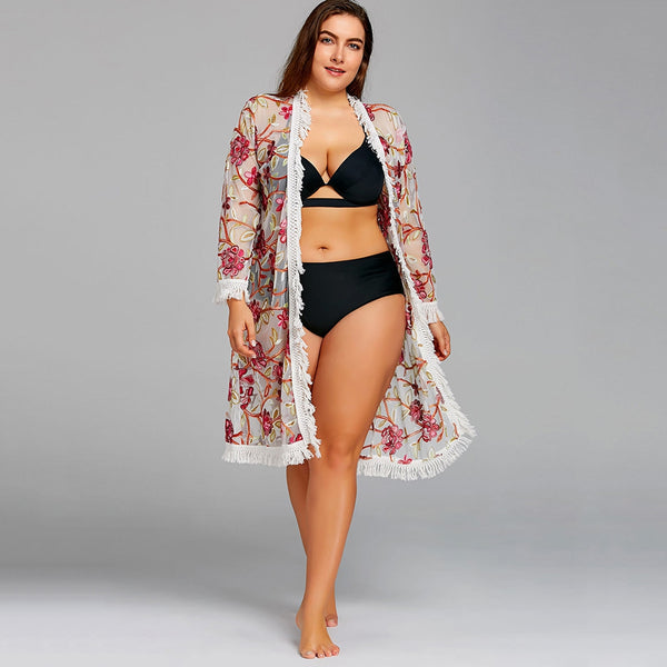 Plus Size Embroidered Fringed Mesh Cover-up