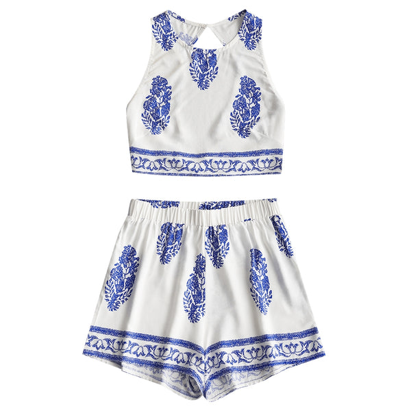 Printed Bow Tied Open Back Top and Shorts Set