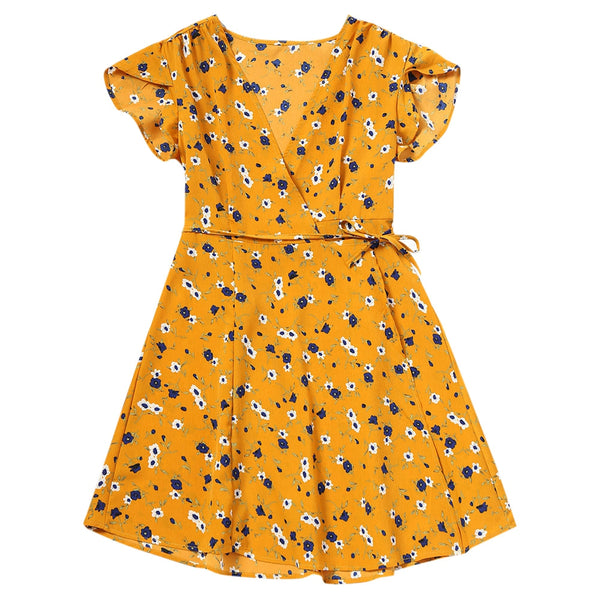 Flower Print Mini Wrap Dress