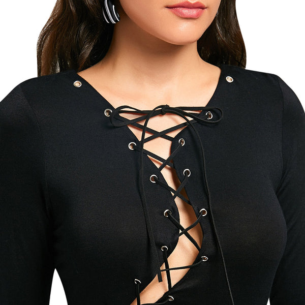 Halloween Lace Up Jersey Cocktail Dress