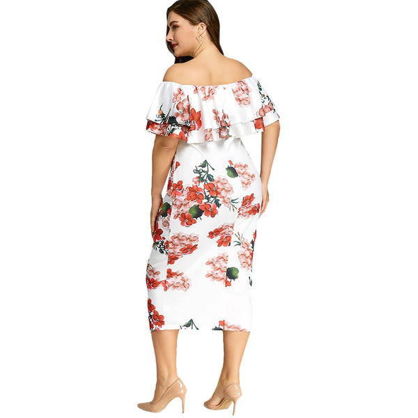 Plus Size Floral Print Ruffle Dress