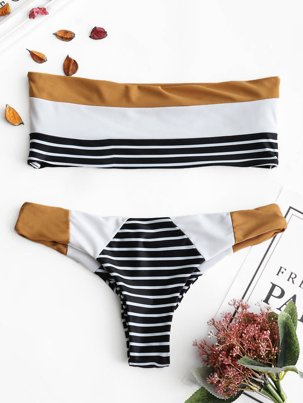 Striped Bandeau Thong Bikini Set