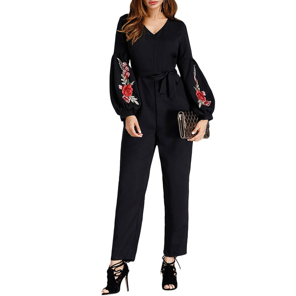 V Neck Embroidered Puff Sleeve Jumpsuit