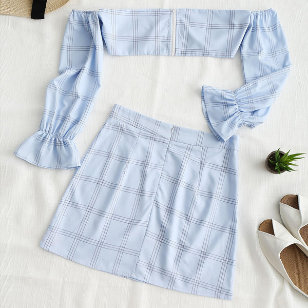 Exposed Shoulder Gingham Top and Skirt Set