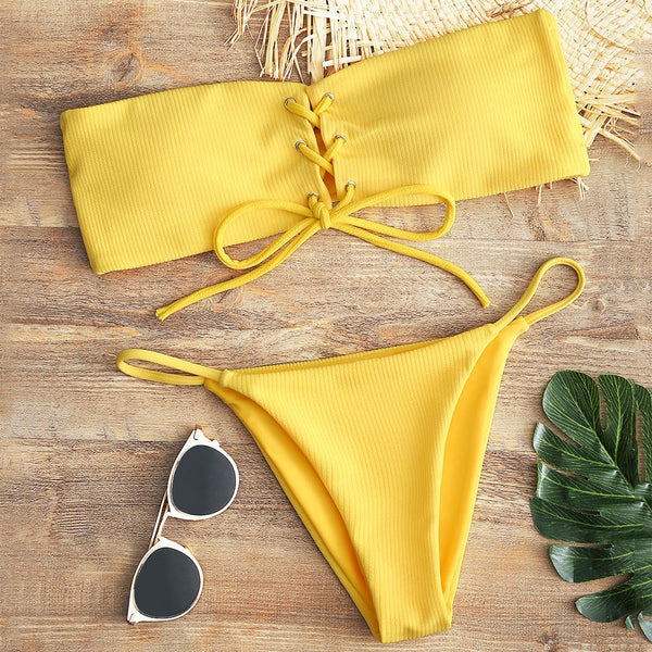 Lace Up Bandeau Thong Bikini Set