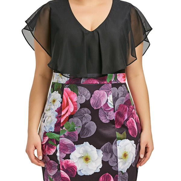 Plus Size Flounce Flower Print Bodycon Dress