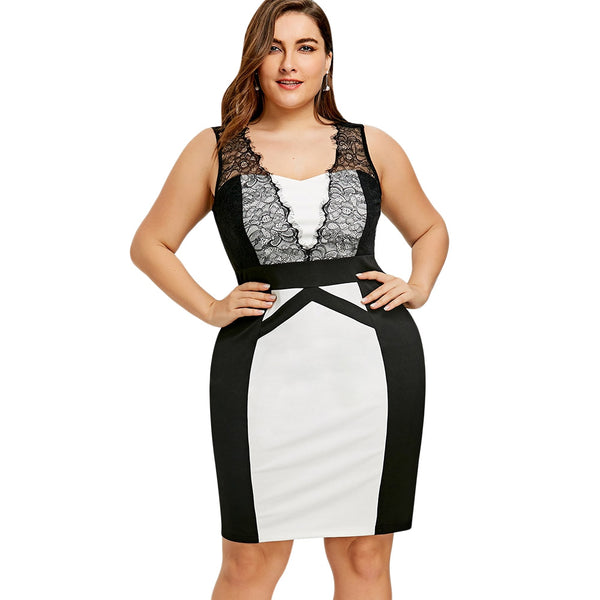 Plus Size Lace Panel Sleeveless Sheath Dress