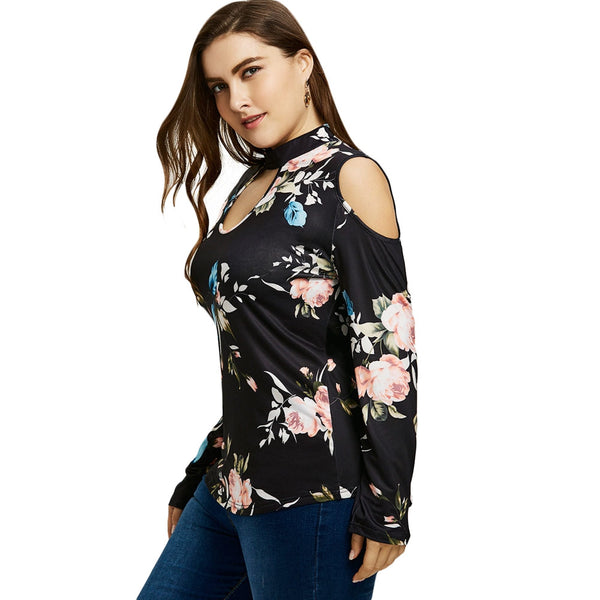 Plus Size Floral Print Cold Shoulder T-shirt