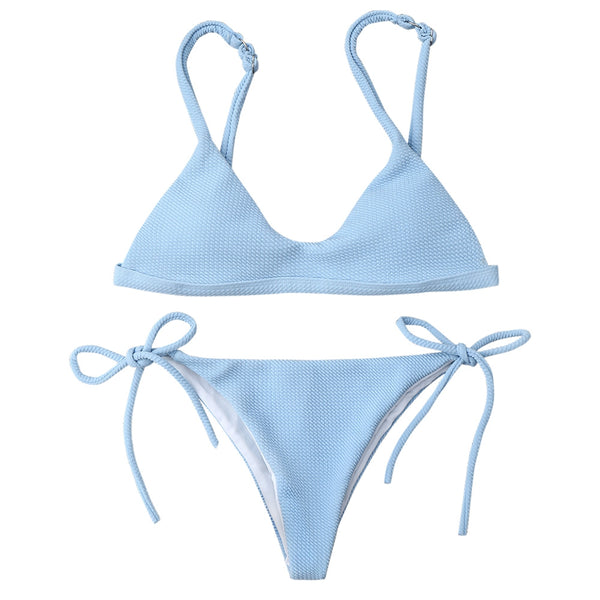 Tie Side String Scoop Bikini Set