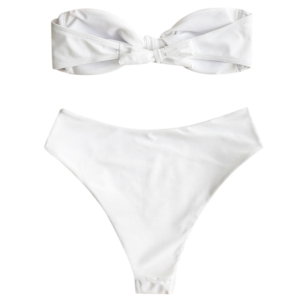 High Cut Bowknot Bandeau Bathing Suit