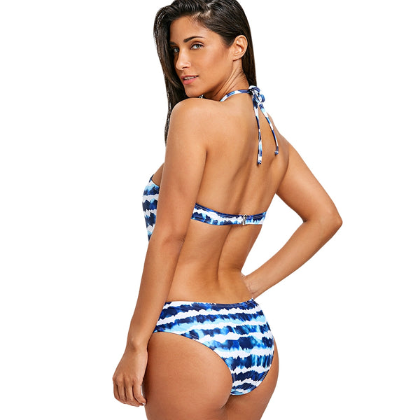 Criss Cross Tie Dye One Piece Swimwear