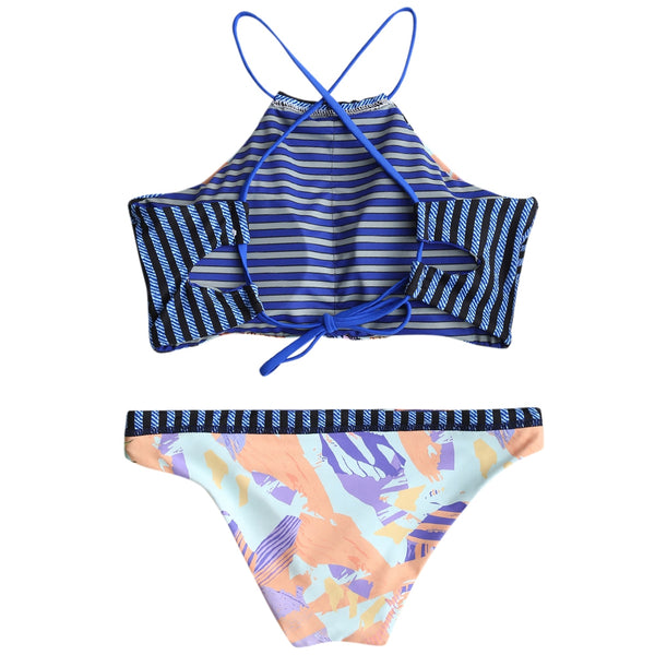 Cross Back High Neck Print Bikini Set