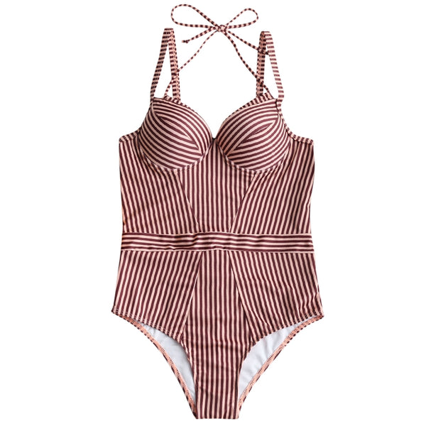 Stripe Push Up One Piece Swimsuit