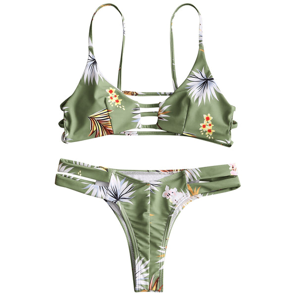 Ladder Cut Out Floral Thong Bikini