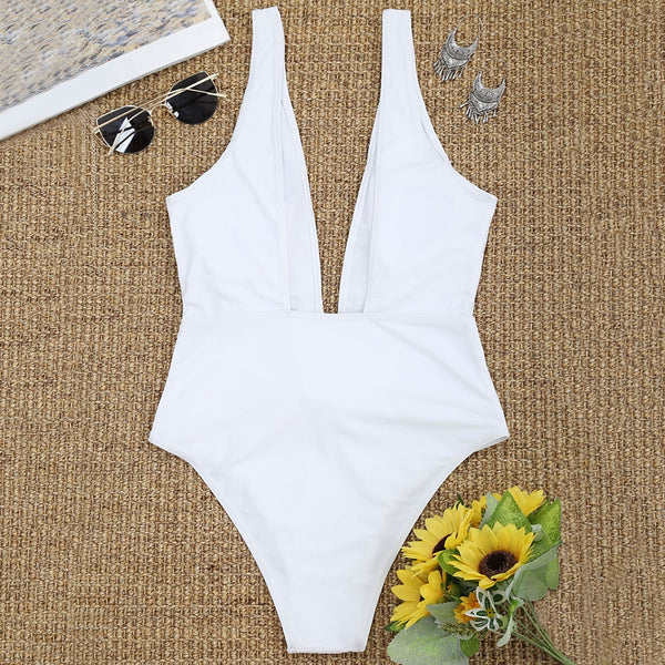 Front Tied Plunging Neck High Cut Swimwear