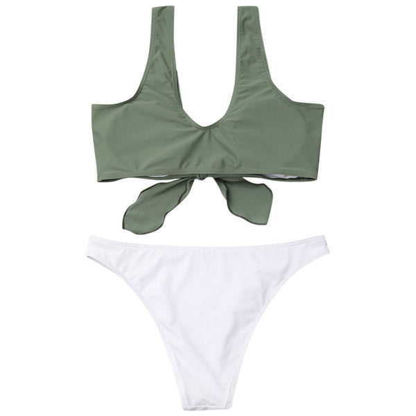 Two Tone High Cut Tied Bathing Suit