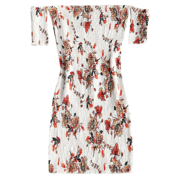 Smocked Off Shoulder Floral Bodycon Dress