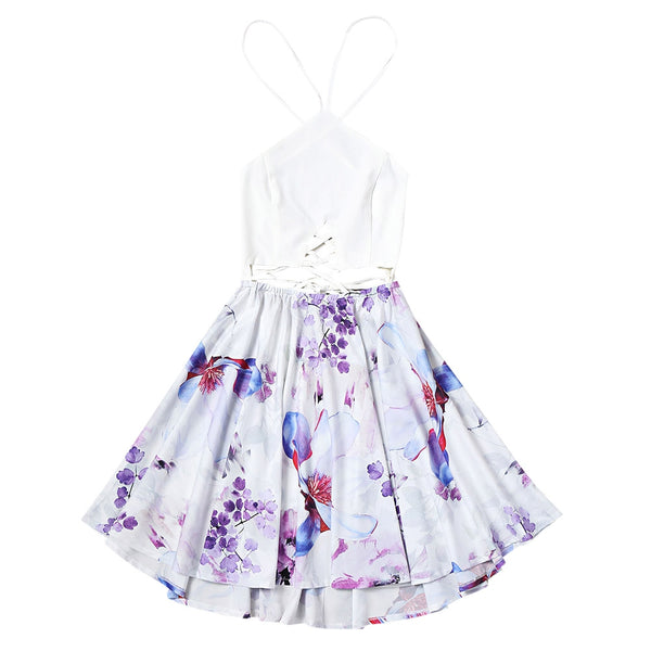 Criss Cross Backless Flower Flare Dress