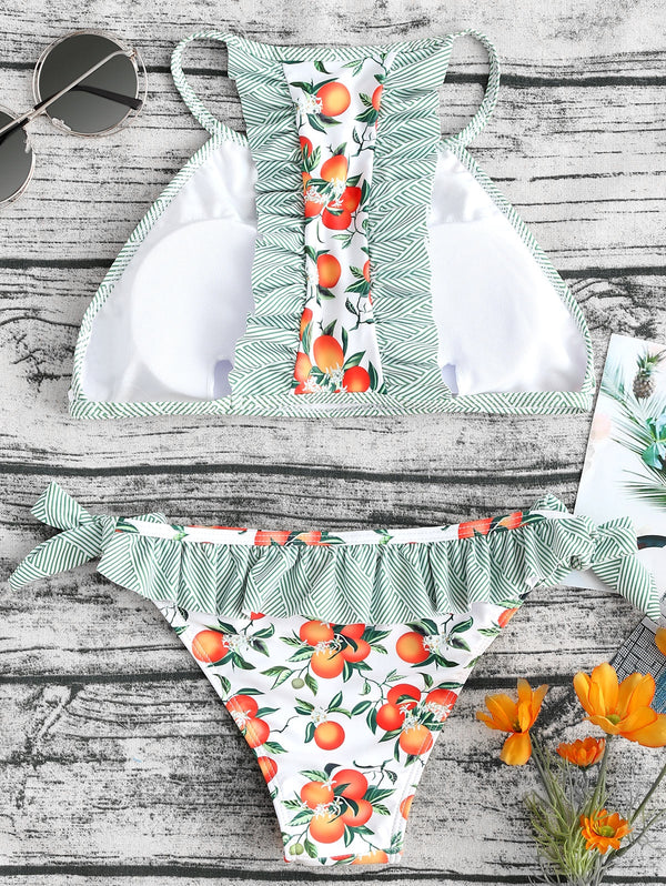 Ruffle Trim Floral High Neck Bikini