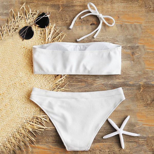 Halter Ribbed Bikini Set