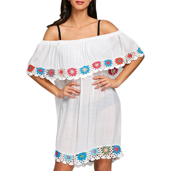 Off Shoulder Crochet Insert Cover Up Dress