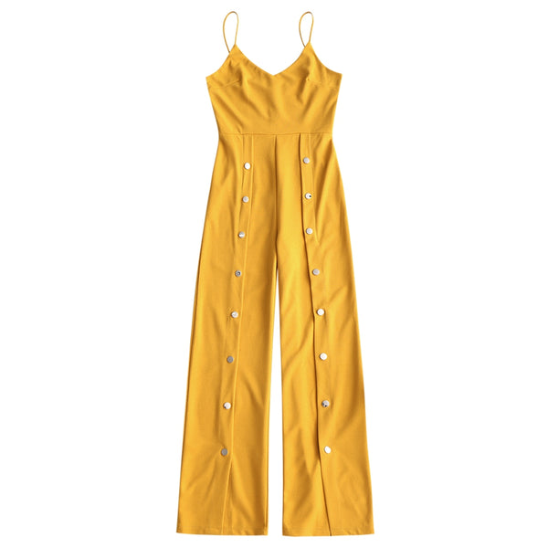 Snap-button Wide Leg Slip Jumpsuit