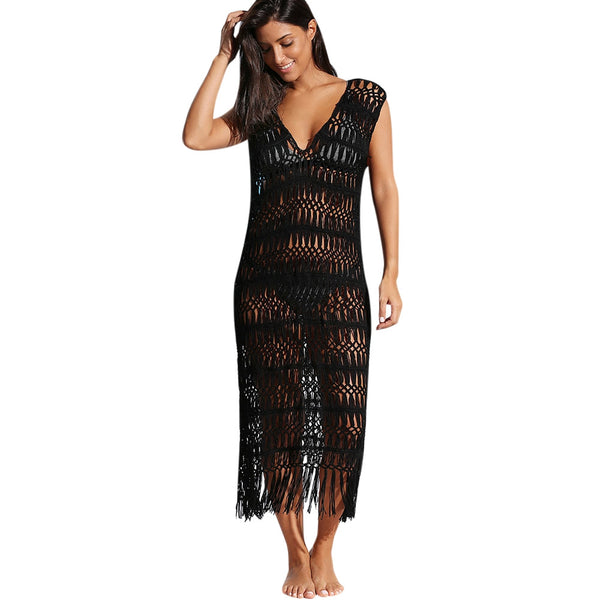 Crochet Fringe Cover-up Dress