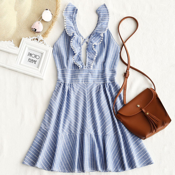 Striped Criss Cross Back Ruffle Mini Dress