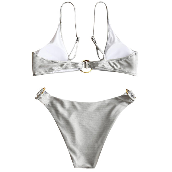 Shiny Metal Ring Soft Padded Bikini Set