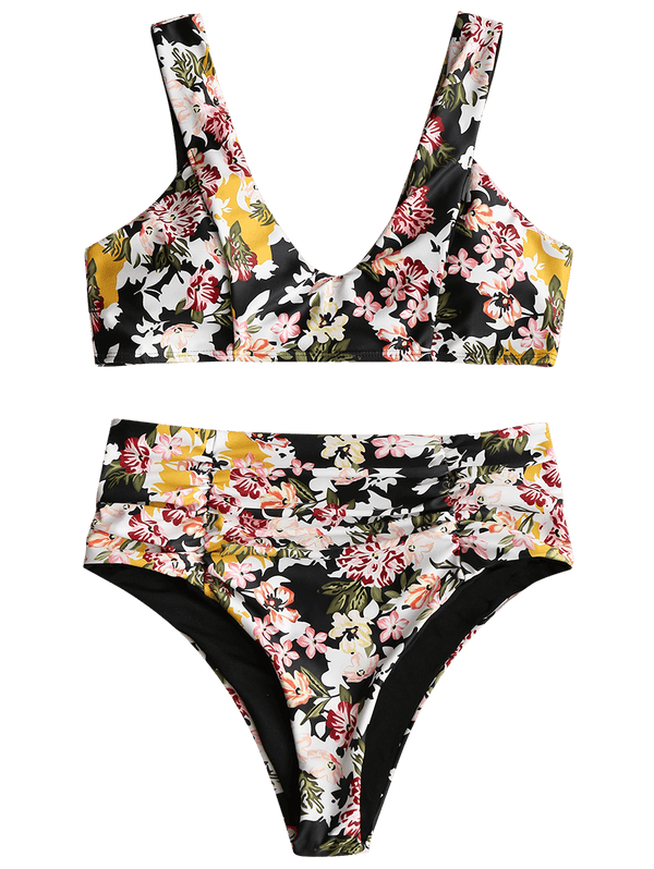 Floral Folded High Rise Bikini Set