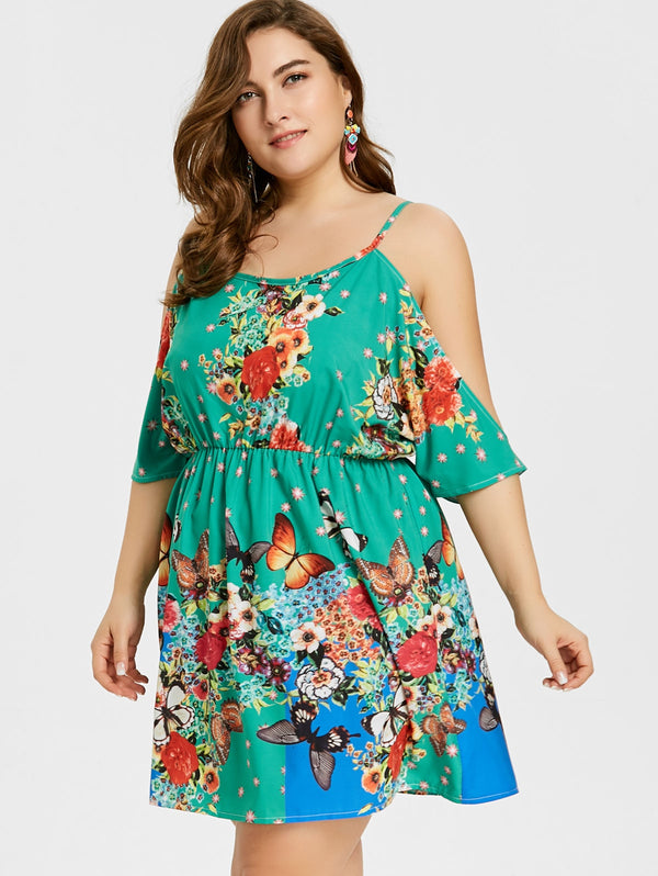 Plus Size Butterfly Cami Tunic Dress