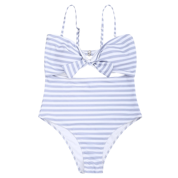 Striped Cutout Plus Size Swimsuit