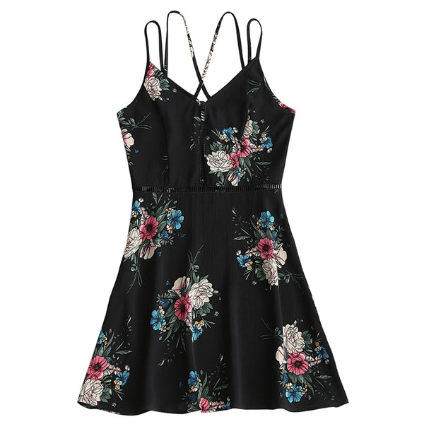 Floral Criss Cross Hollow Out Mini Dress