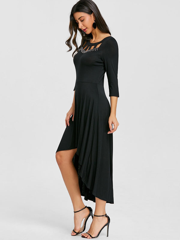 Front Cut Out Rivet High Low Dress