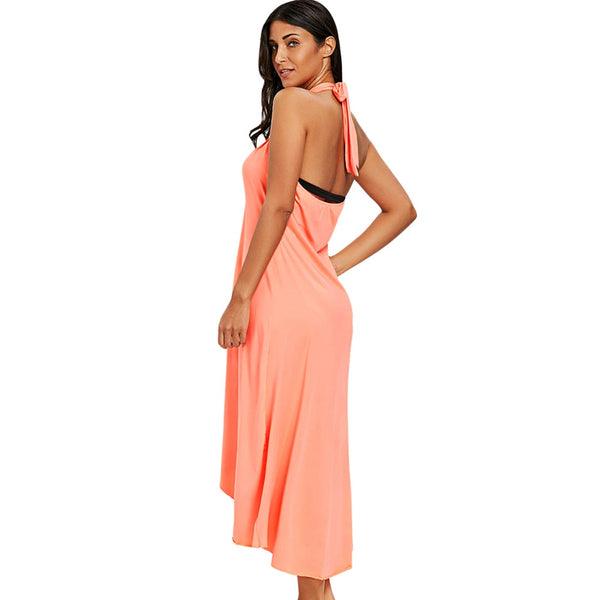 Halter Backless Slit Beach Cover-up Dress