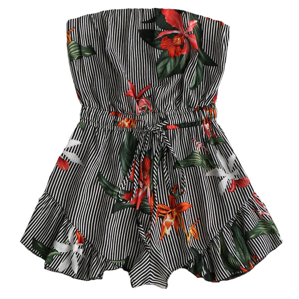 Striped Floral Ruffled Strapless Romper